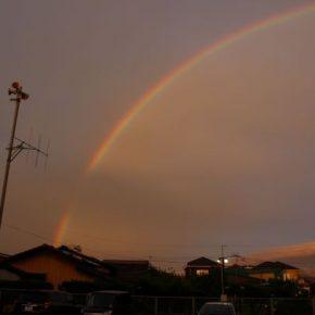 つれづれ366 夕暮れの大きな虹