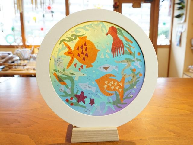 レインボートランスパレントペーパーと端紙を活用した切り絵の作品「海のおはなし」