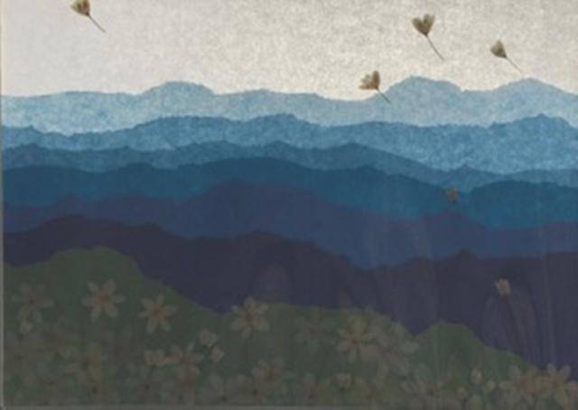 お客様の作品ご紹介13 山の連なりと押し花のコラボレーション